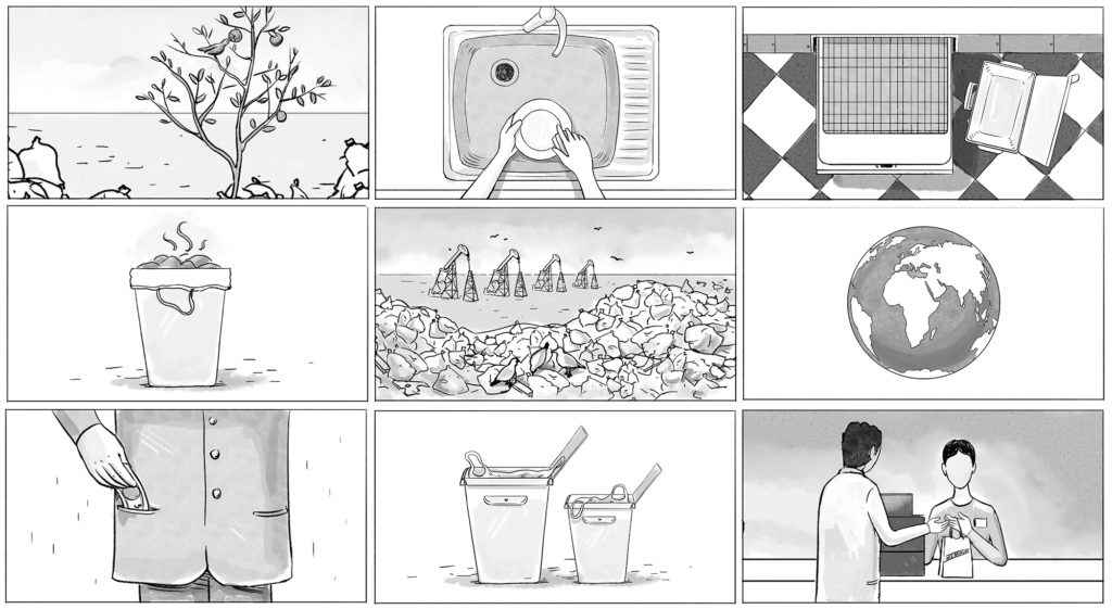 An example of a storyboard to an animated video