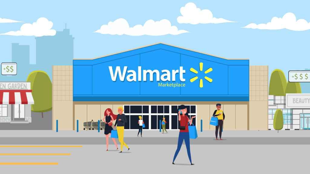 Frame from an animated video about Walmart