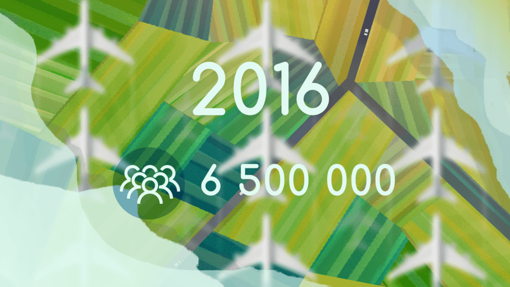 6.5 million - the number of people who flew in 2016