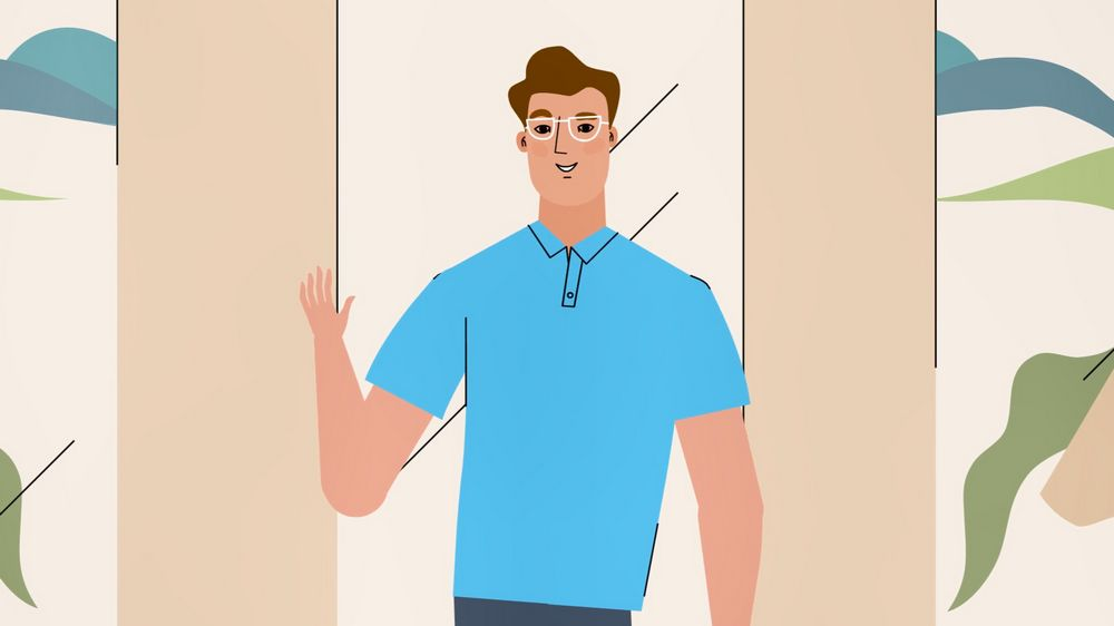 The guy waves his hand in 2D Animated Video