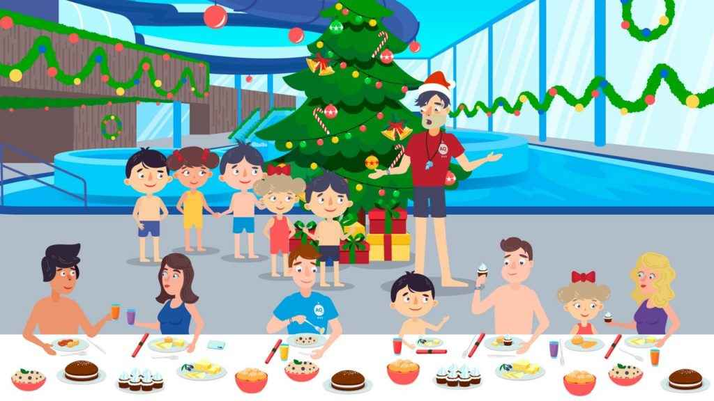 Christmas celebration in the pool - Animated Video