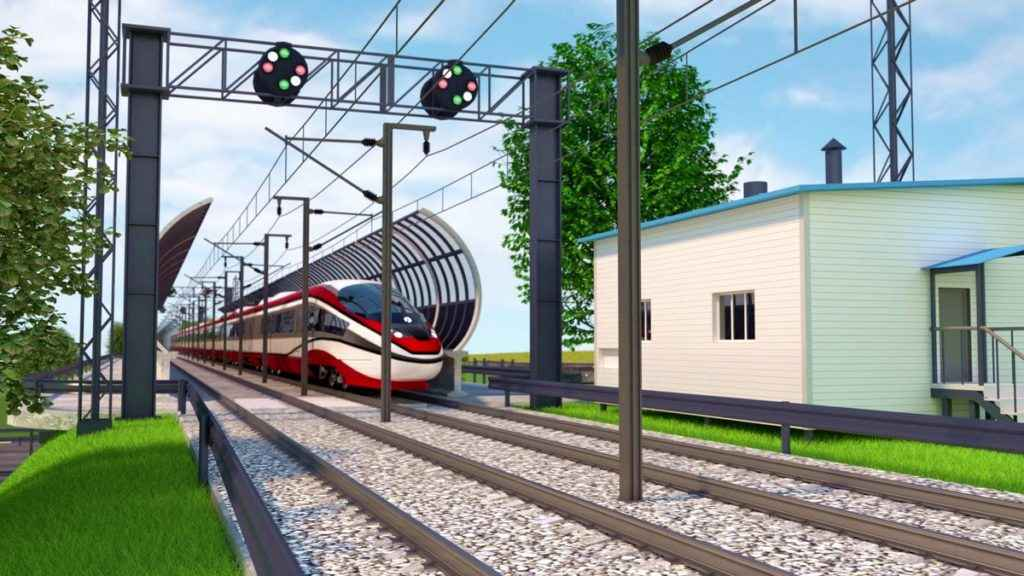 Railway station in Animation Video