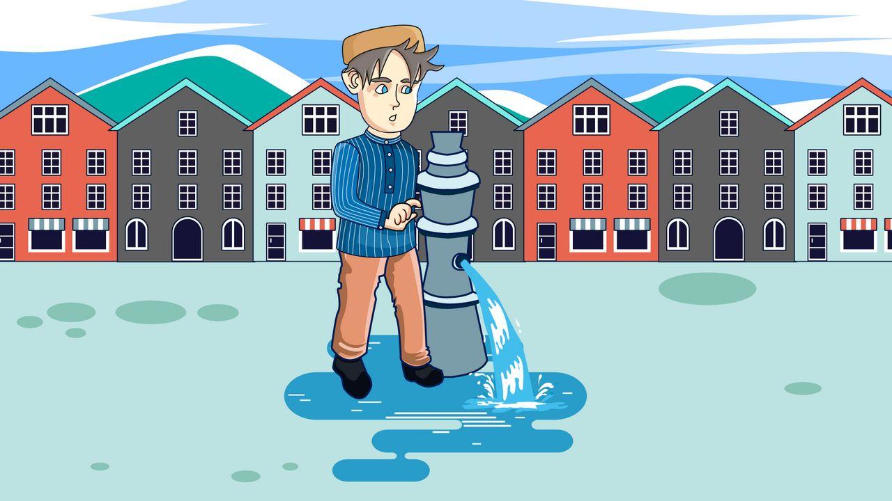 Man near the fountain - Animation