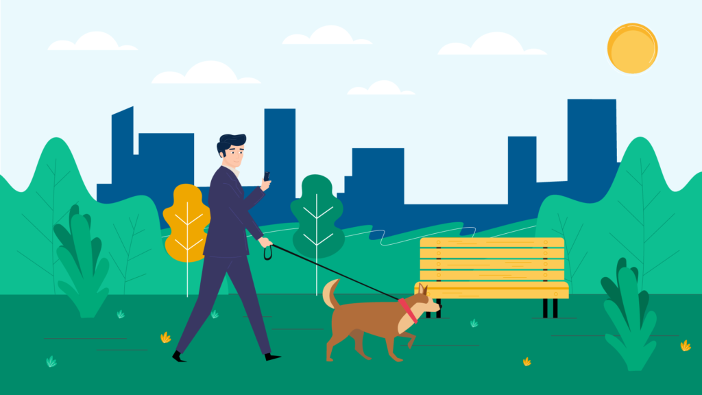 Dog walking in 2D Animated Video