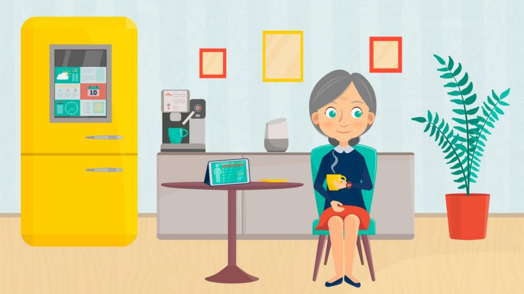 Granny drinking tea in 2D Animated Video