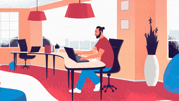 Explainer video a man sitting at the office desk animation