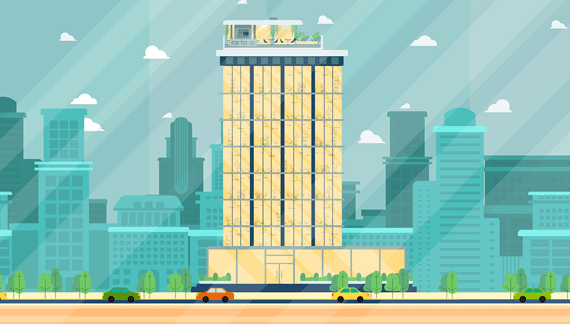 Animated Explainer video tall office building in the city animated