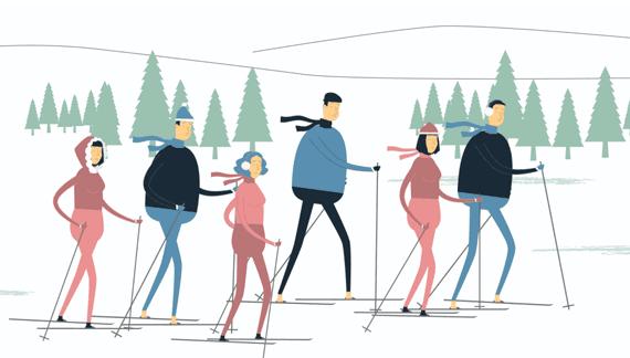 People skiing - Health and Medicine Animated Video