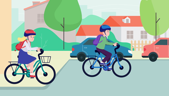 NGO Kids riding bicycles - Character Animation