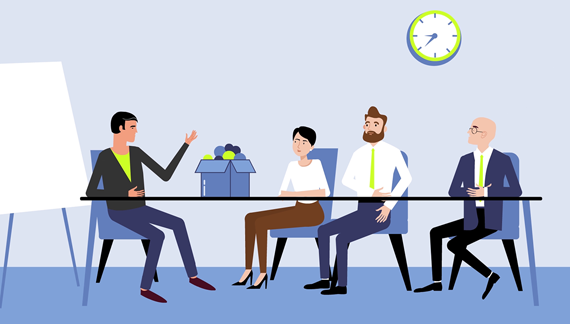 Company employees take part in the discussion - Animation