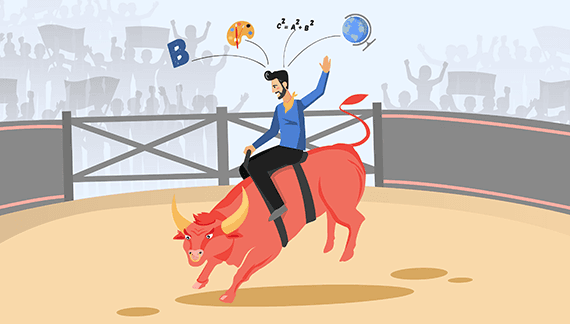 Man Riding a Bull - Character Animation in an Animated Video
