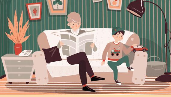 Cartoon Characters Sitting on the Sofa - Social Media Video