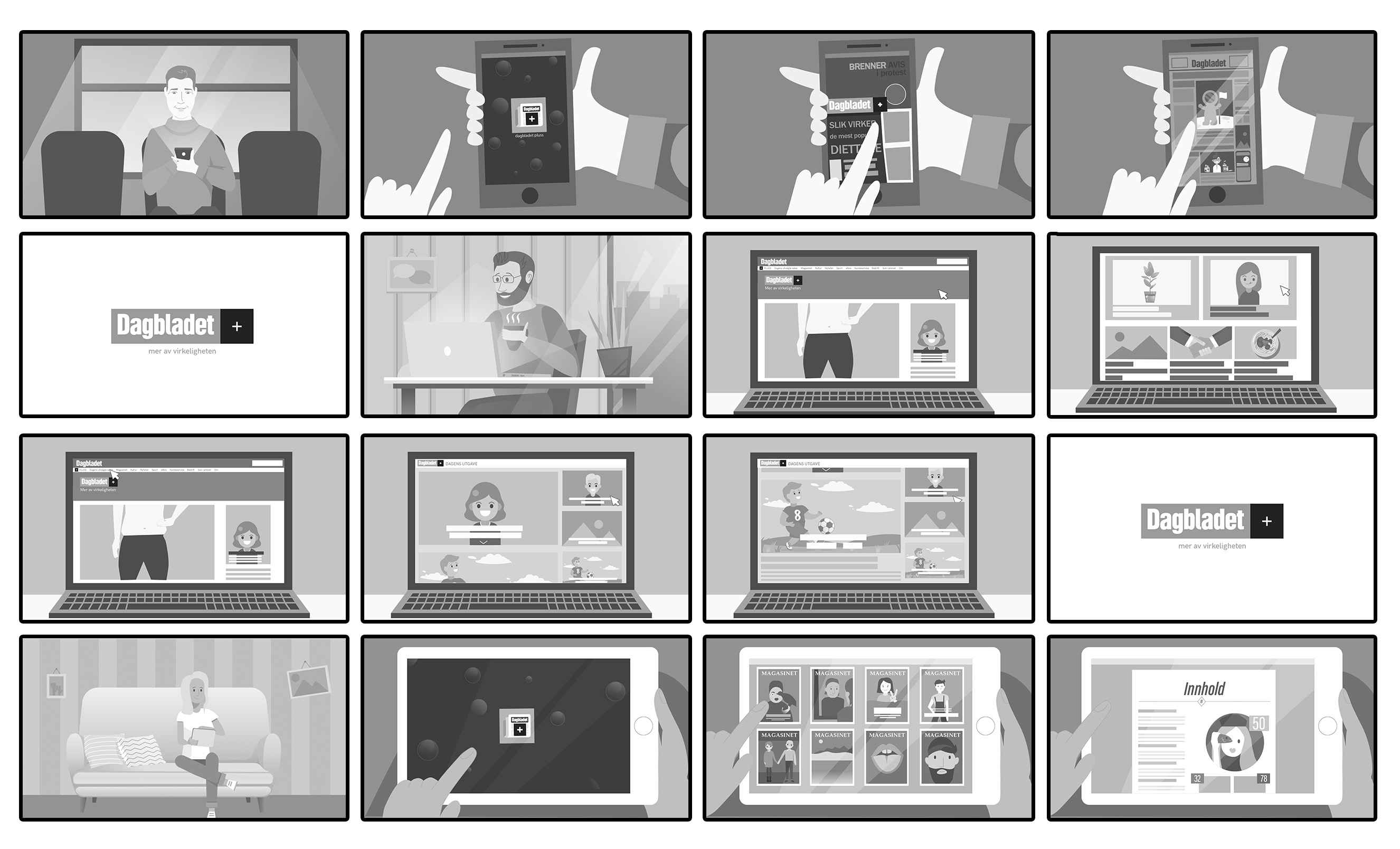 """Storyboard to the video """"Dagbladet Pluss"""""""