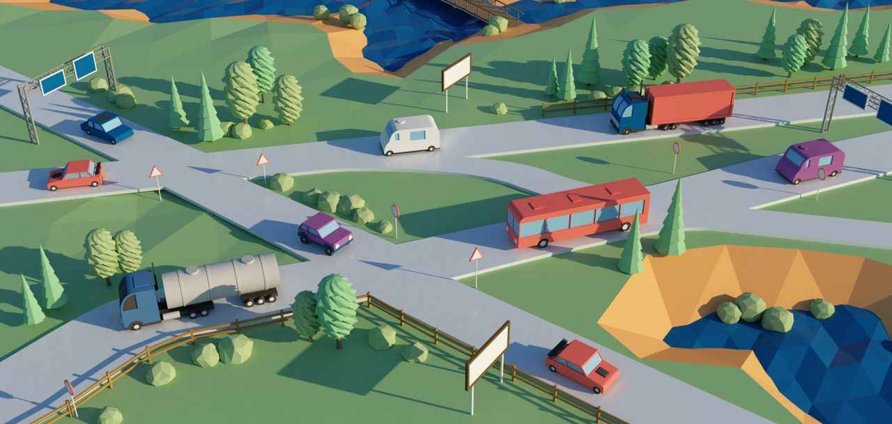 Traffic on the road | 3D Animation