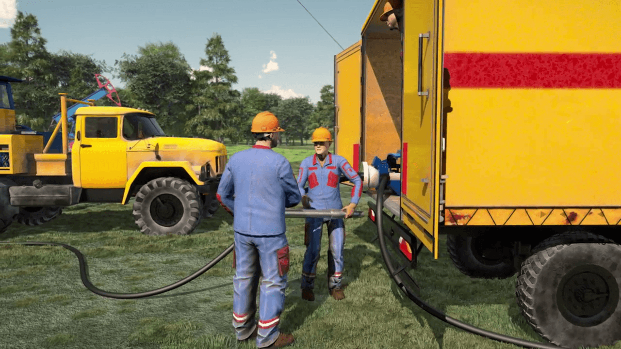 Cars in the video about oil drilling