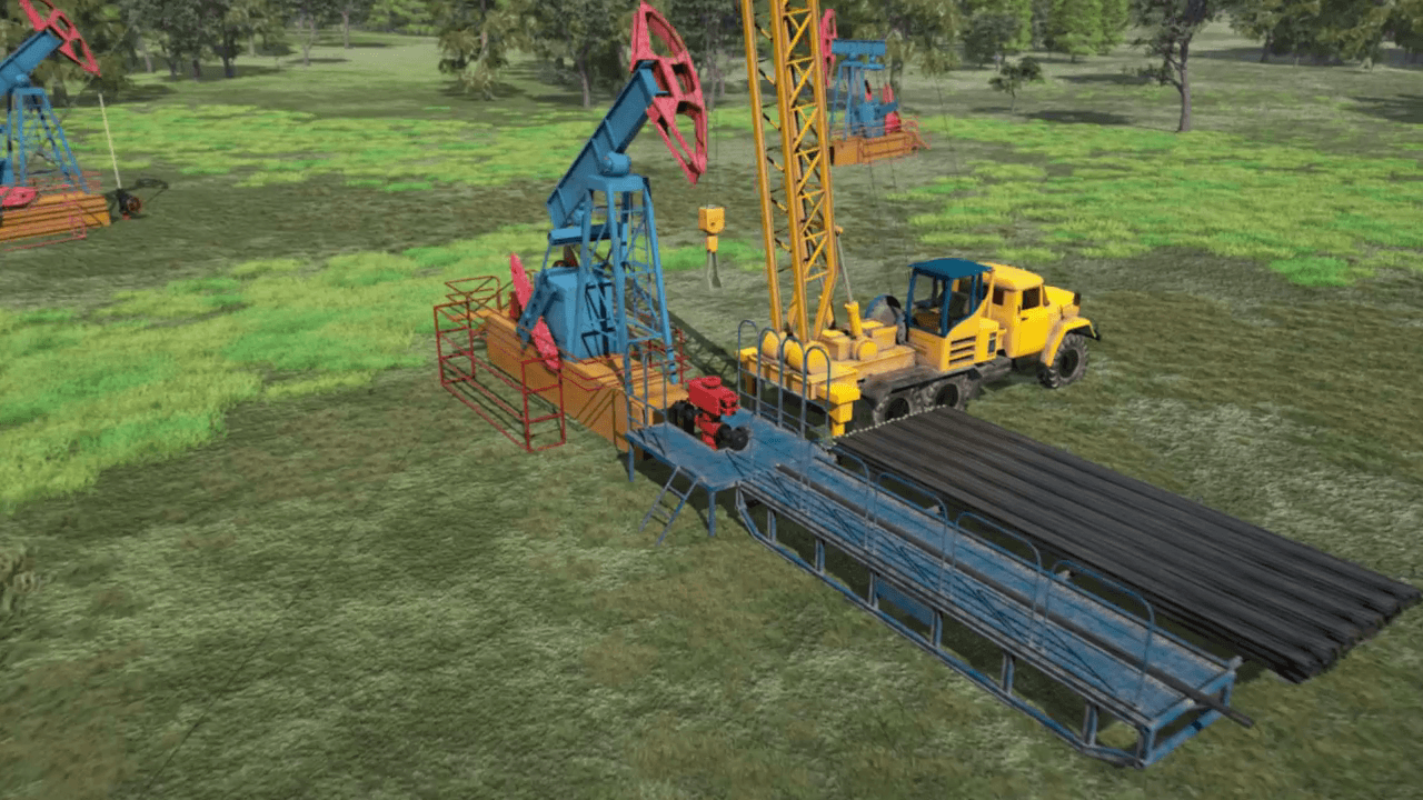 The process of drilling oil, shown in the animated video