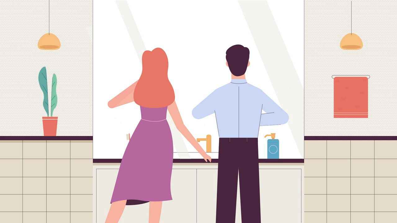 Guy and girl in front of a mirror - 2D Animated Video
