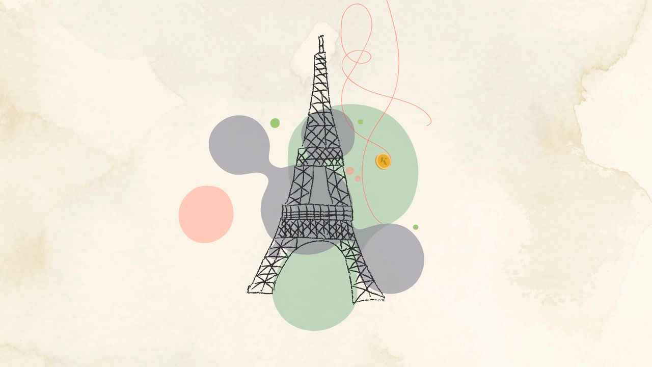 Eiffel Tower in the 2D Animated Video