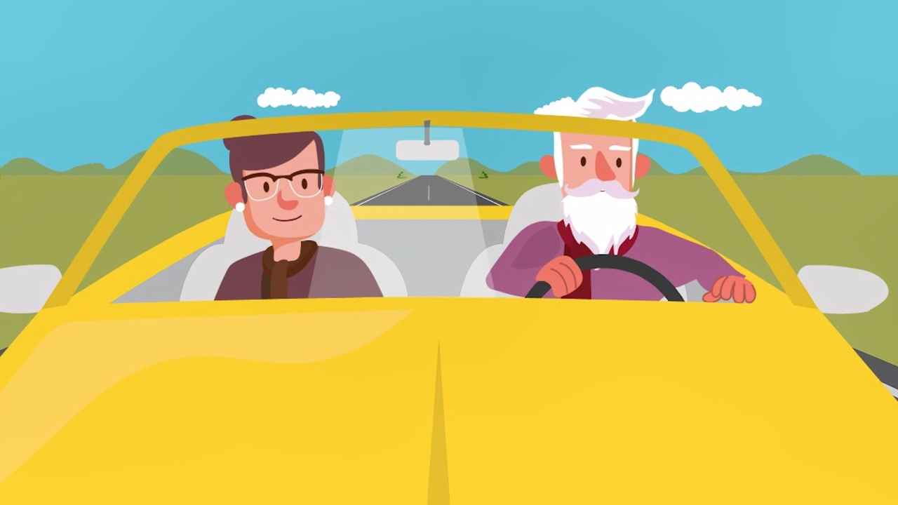 Grandpa Driving - Animated Marketing Video