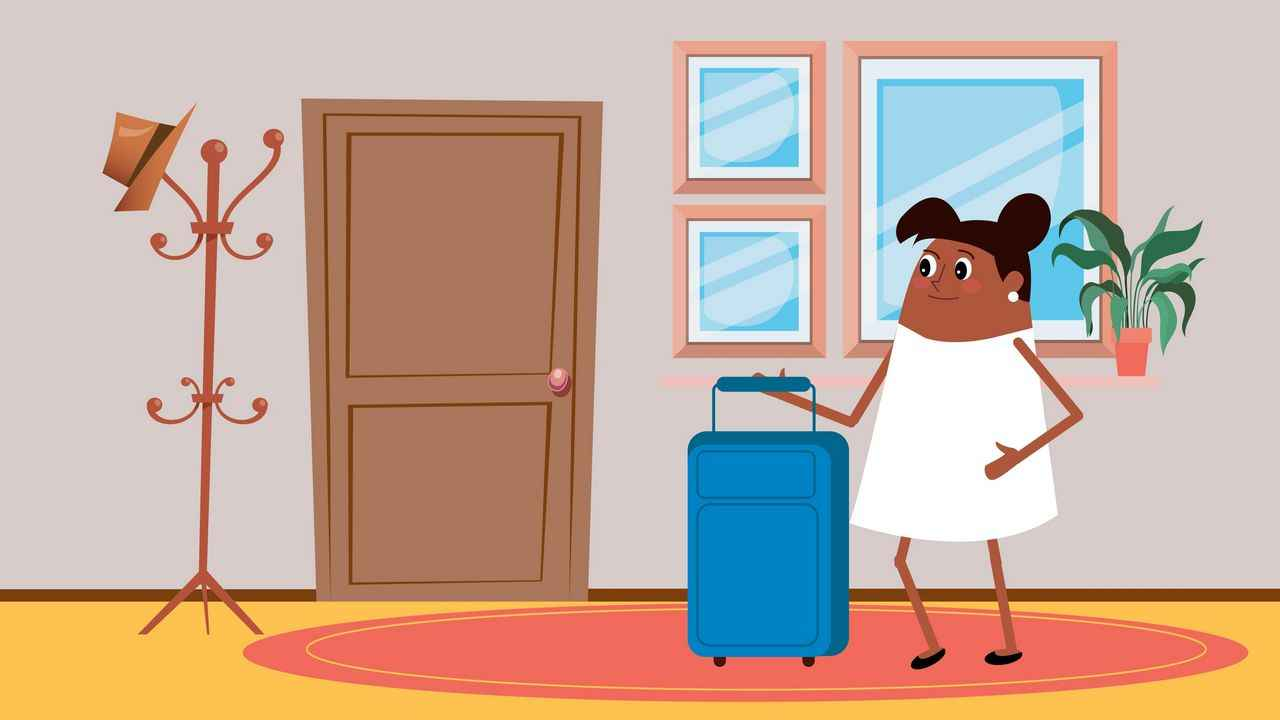 Woman with a suitcase in Cartoon Explainer Video