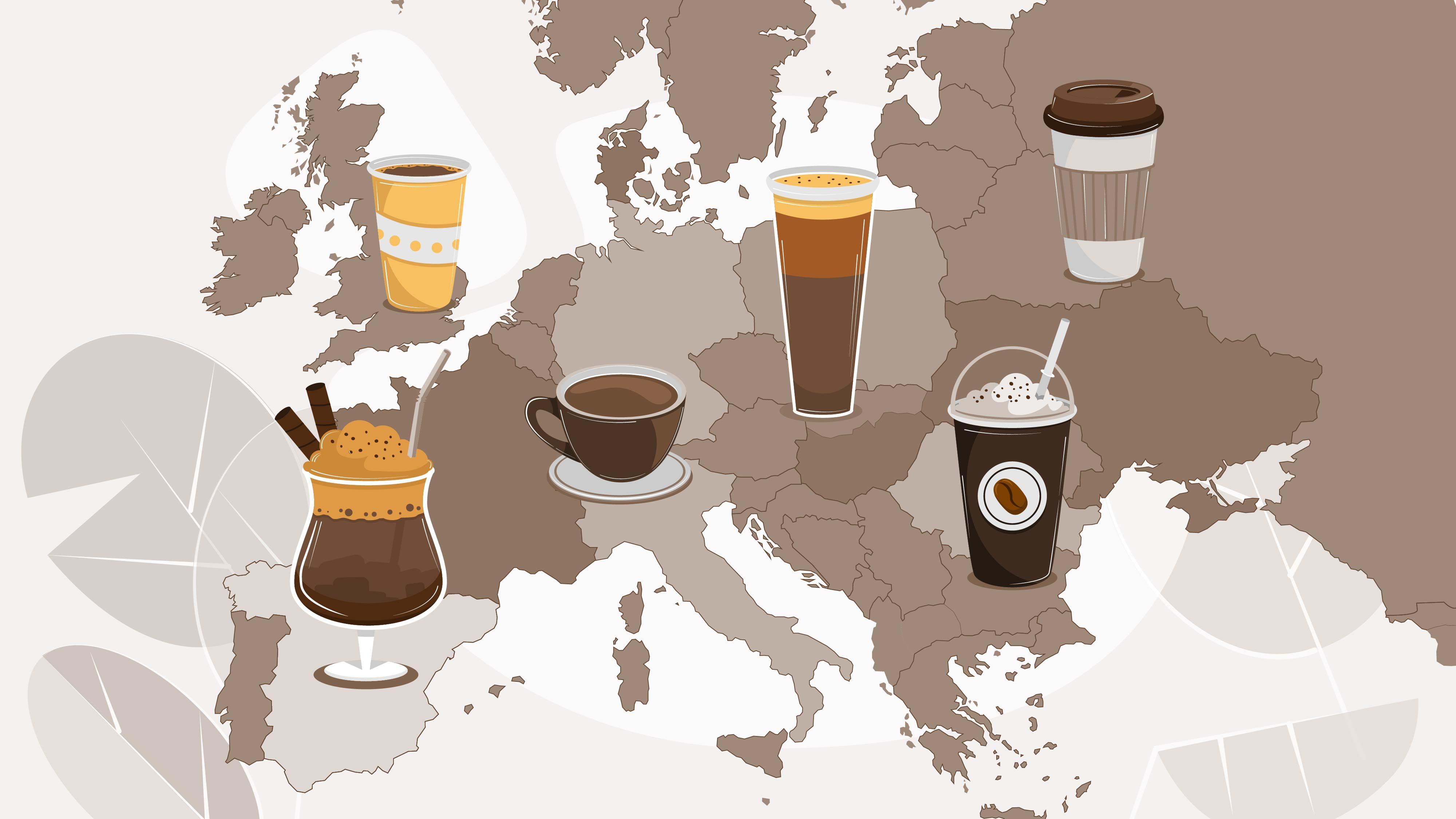 Varieties of coffee in the animated video