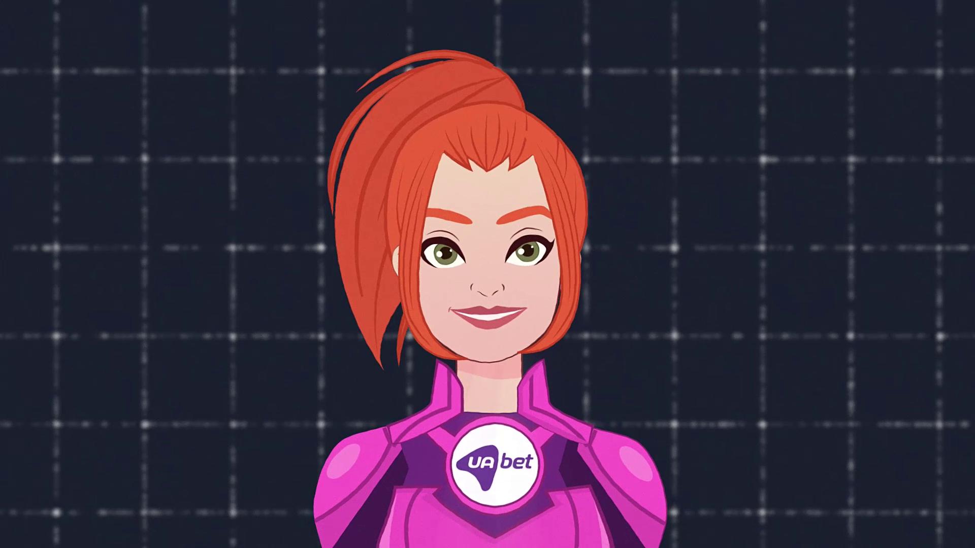 Smiling girl wins robot