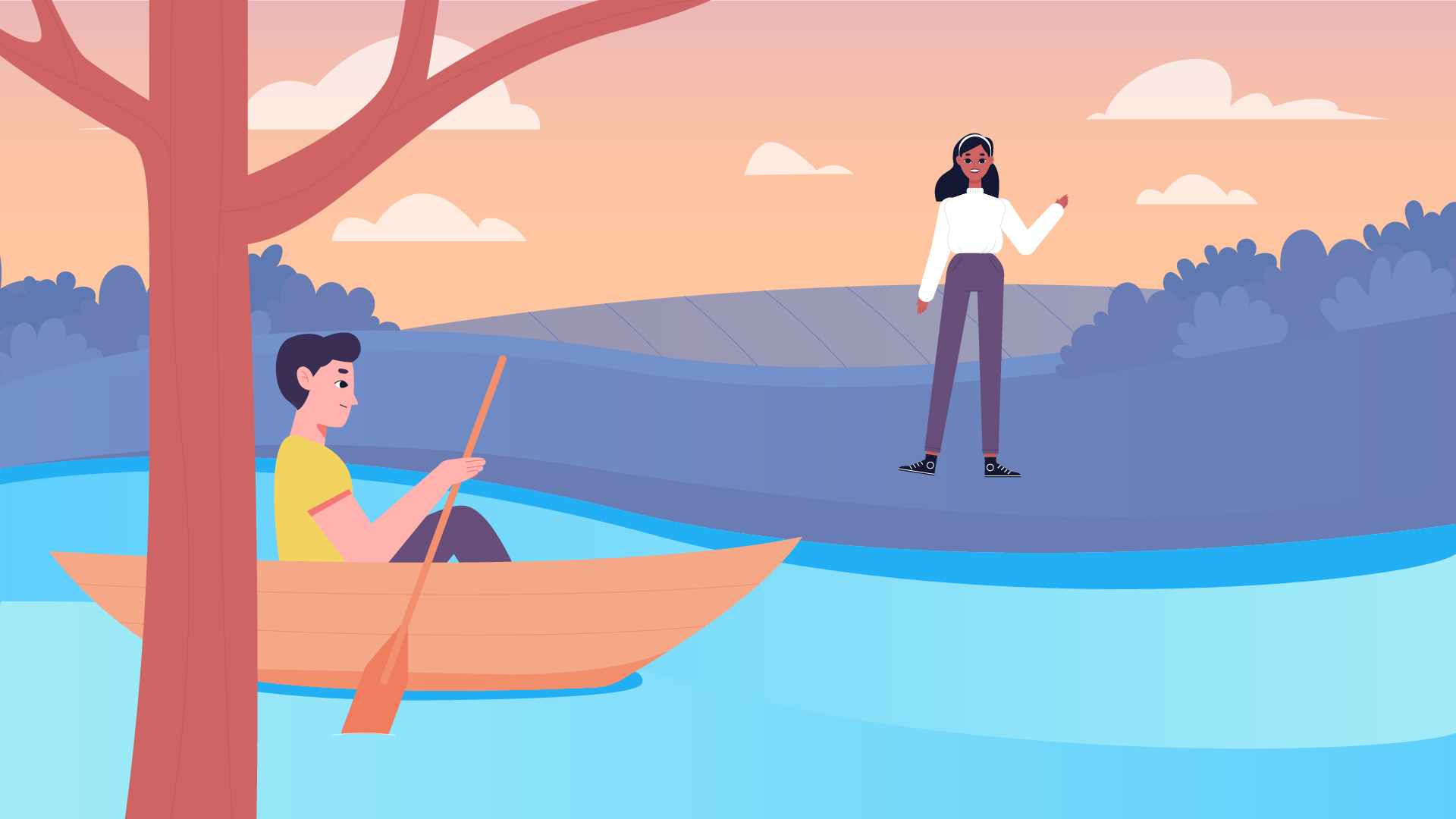 Sailing on a boat. Character Animation