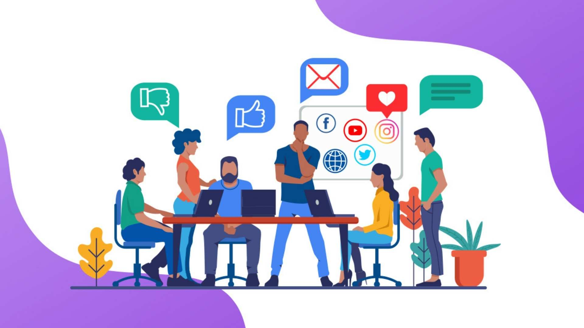 Team work on digital brand presence