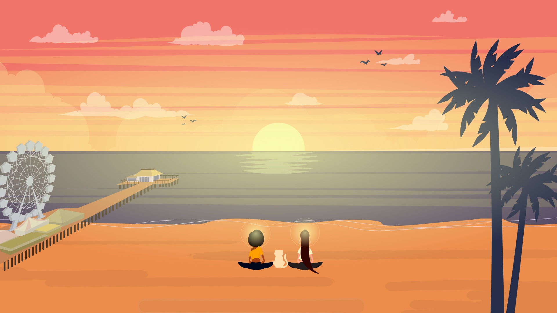 Sunset in 2D Animated Video