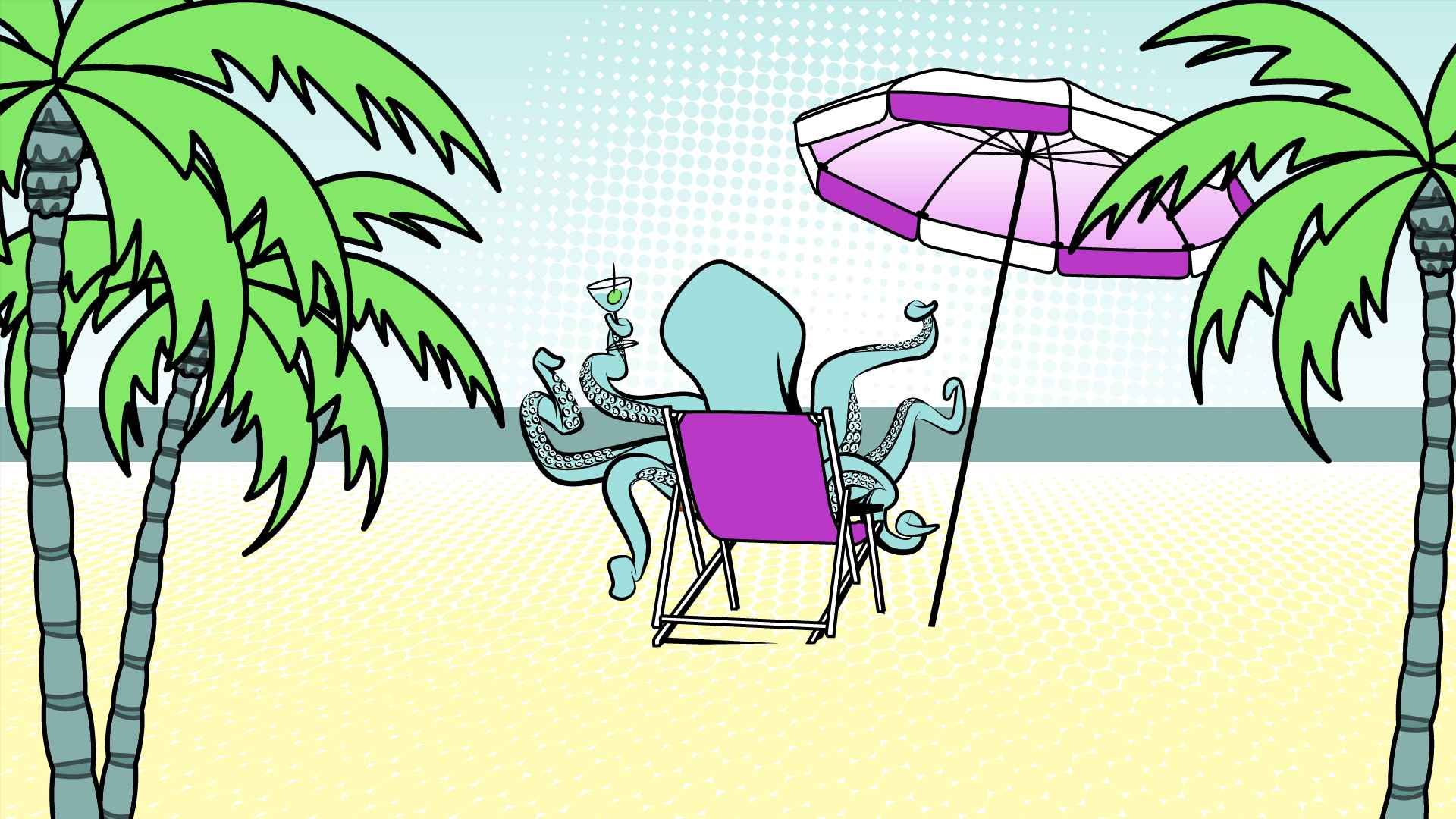 Octopus on vacation in Animated Presentation Video