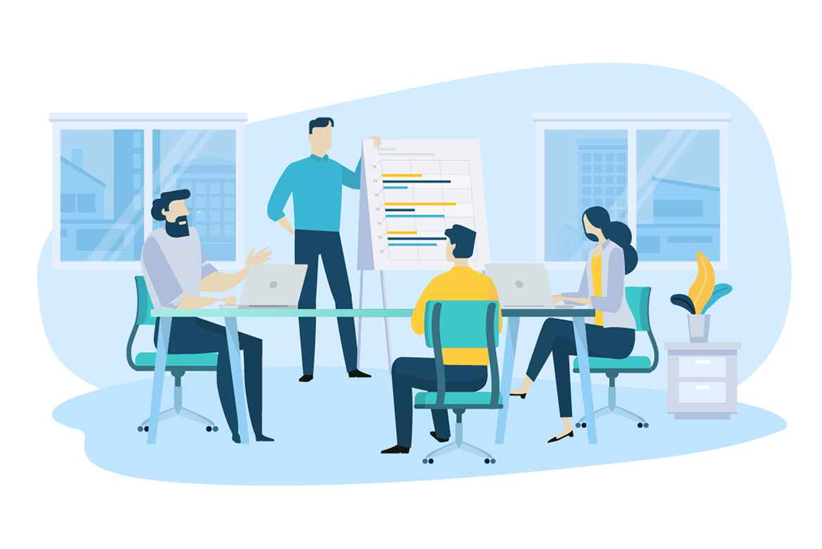 Meeting at work in the article Video Marketing Campaign