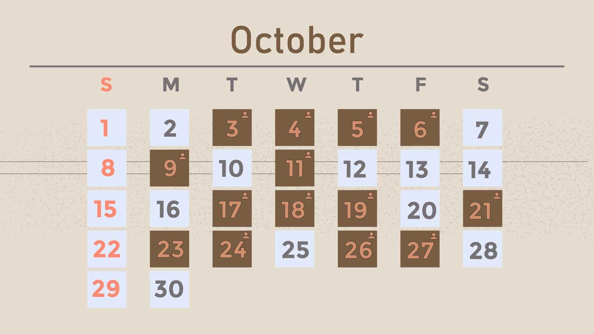 October on calendar in Customer Engagement Video