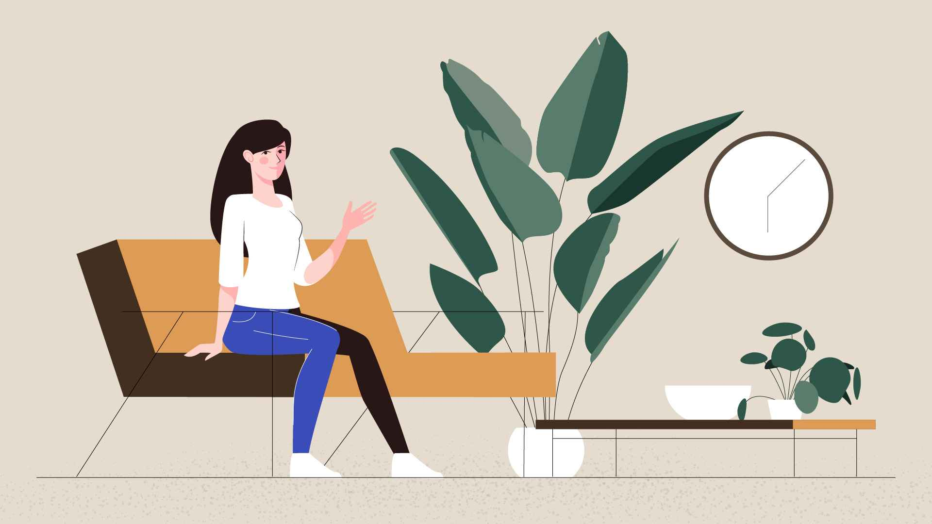 Girl sitting on sofa in Animated Explainer Video
