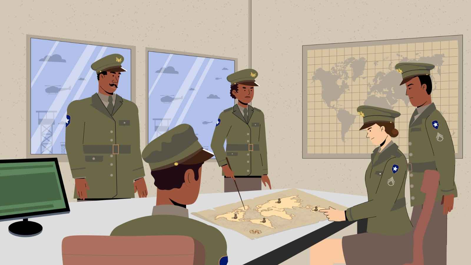 Military assembly in 2D Animated Video