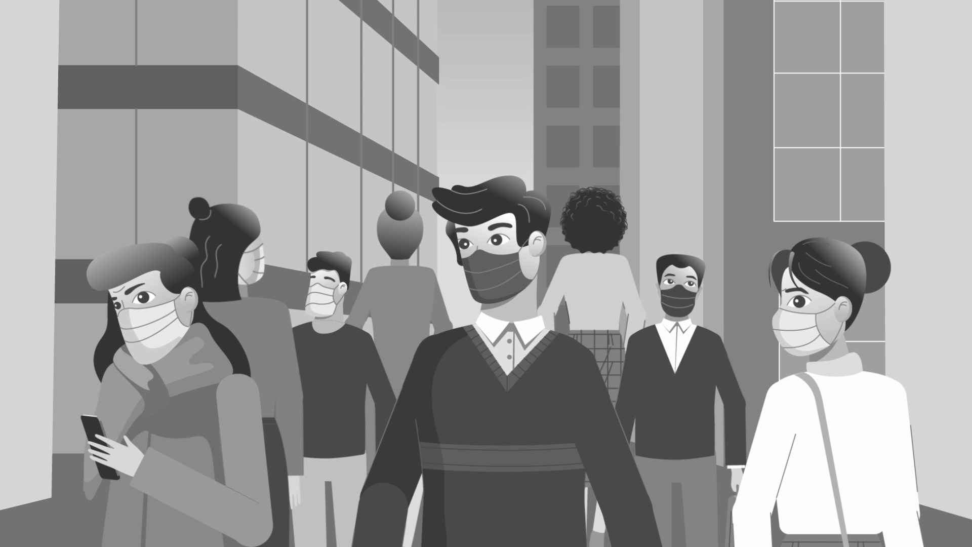 Masked people in 2D Animated Video