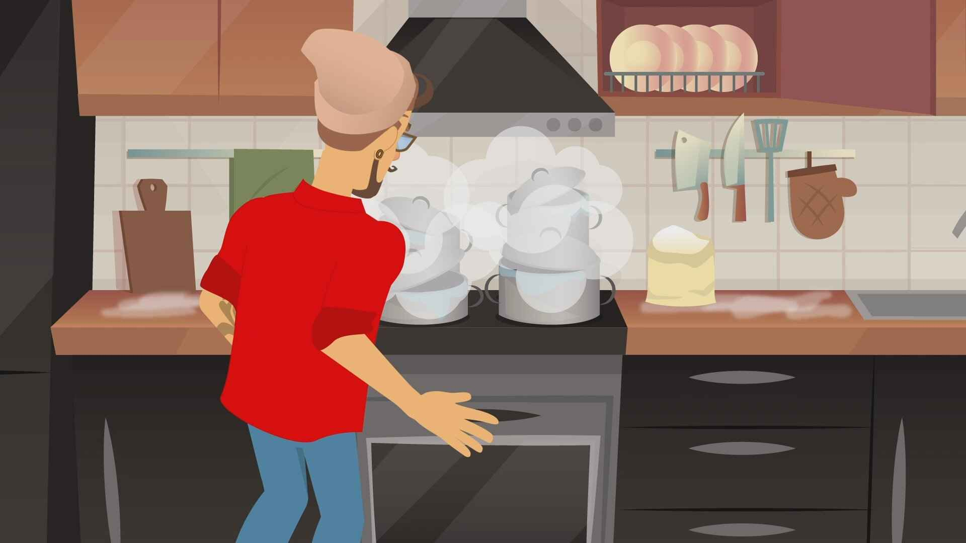Problems in the kitchen in the  Animated Explainer Video