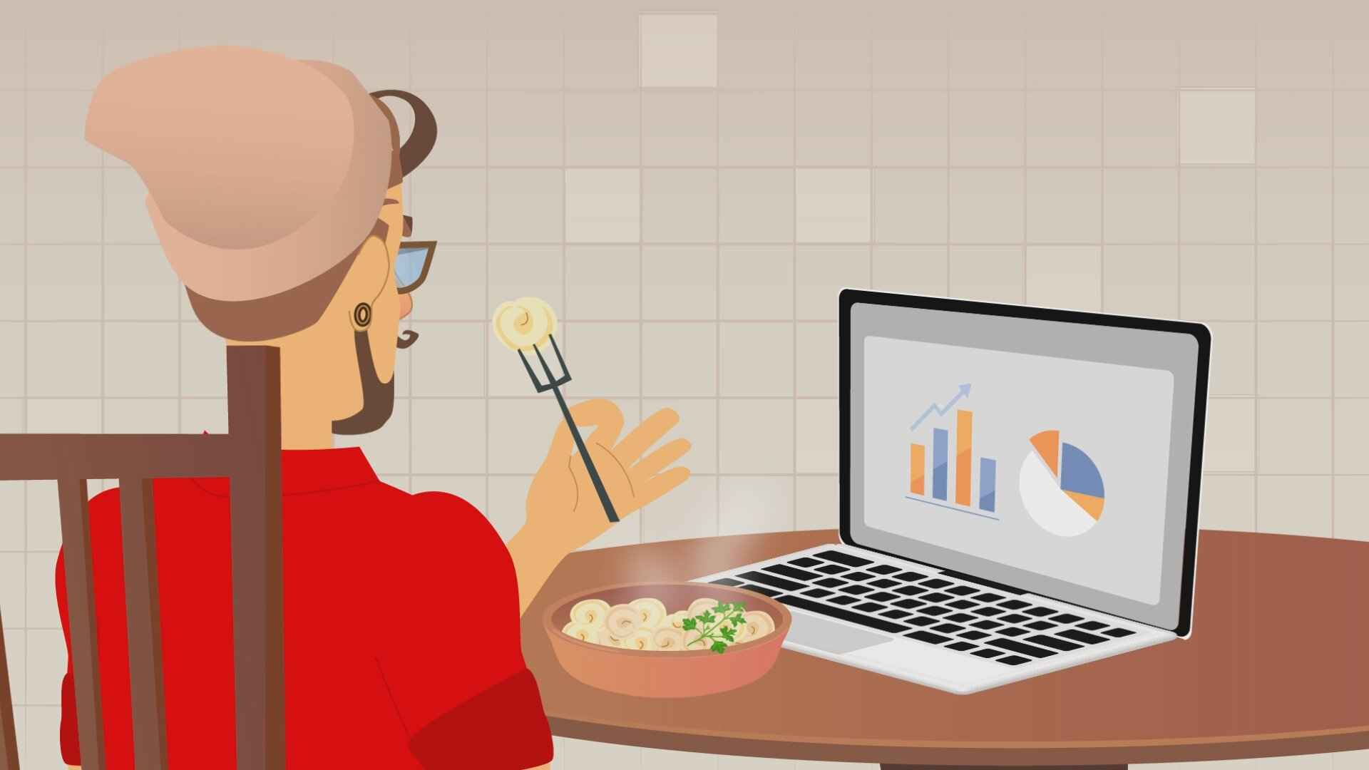 """Food at work in the video """"Don't waste time cooking!"""""""