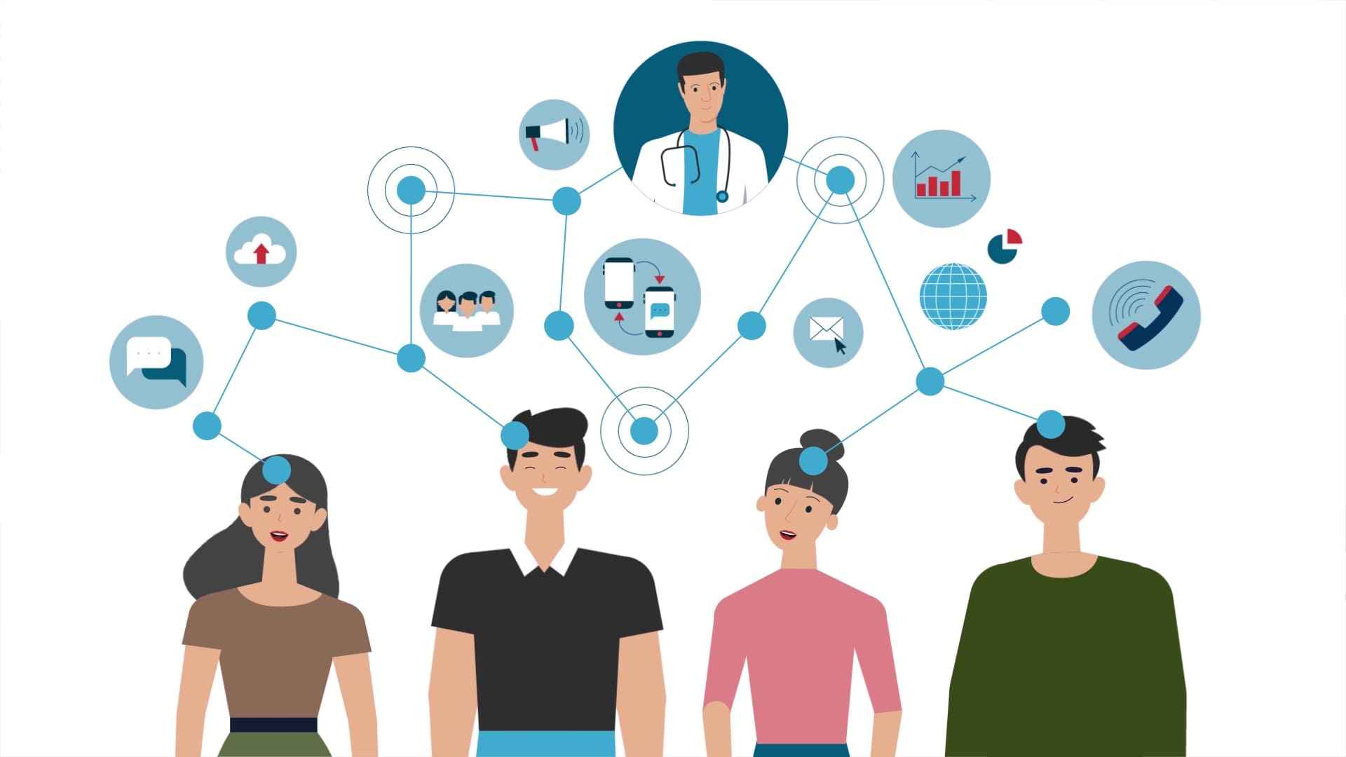 Communication between patients and doctor - 2d animation
