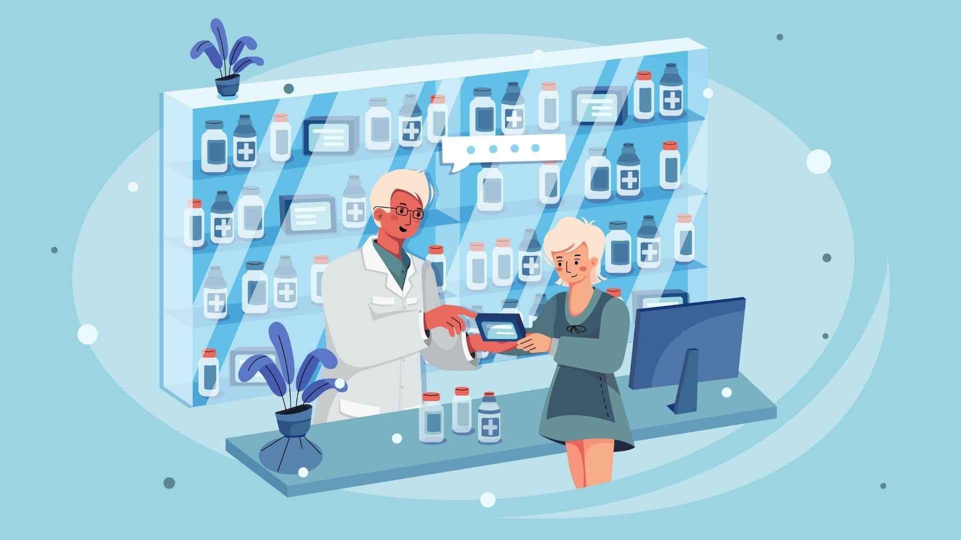 Illustration of a pharmacy room