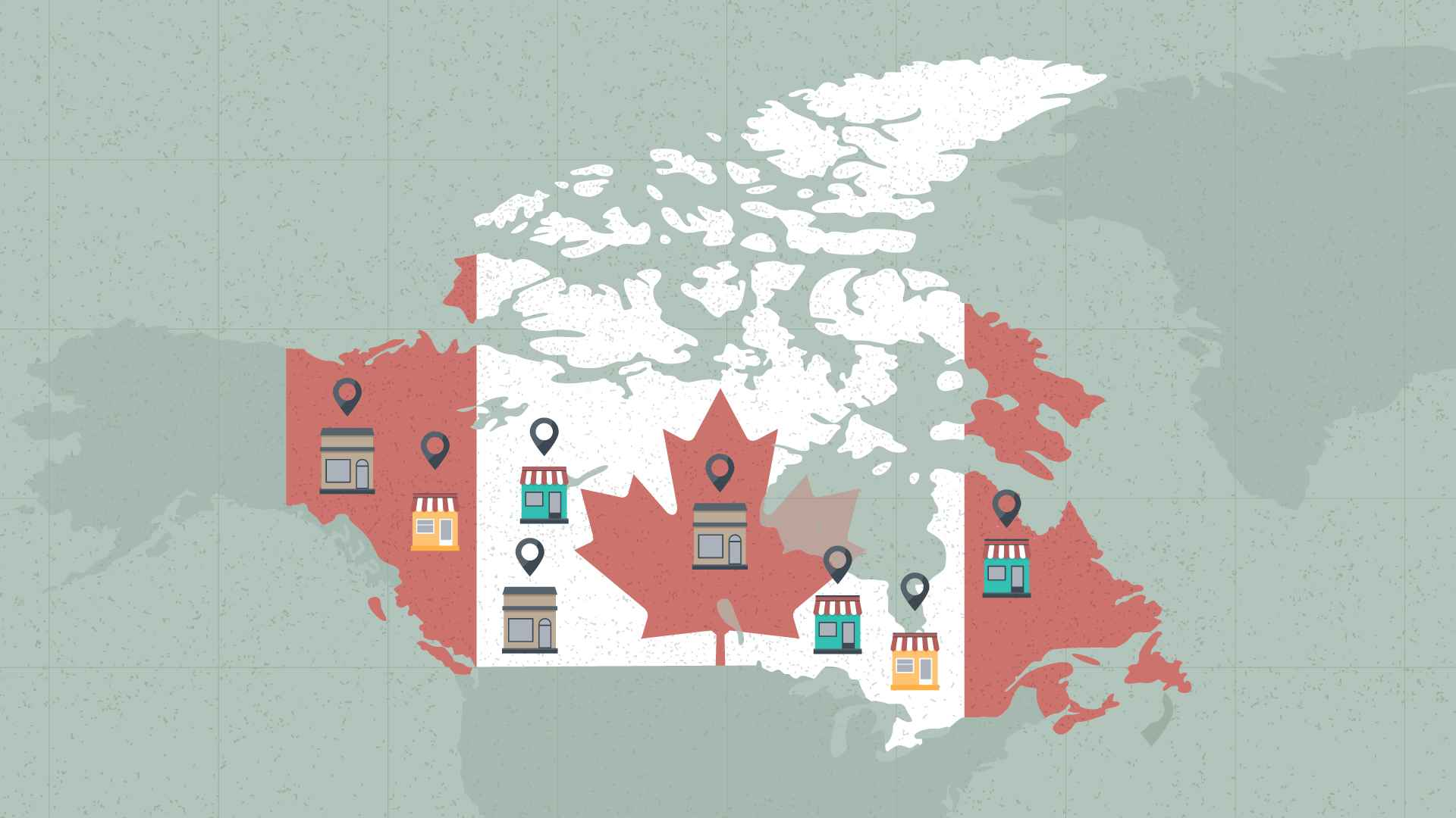 Canada on the map in Marketing Video
