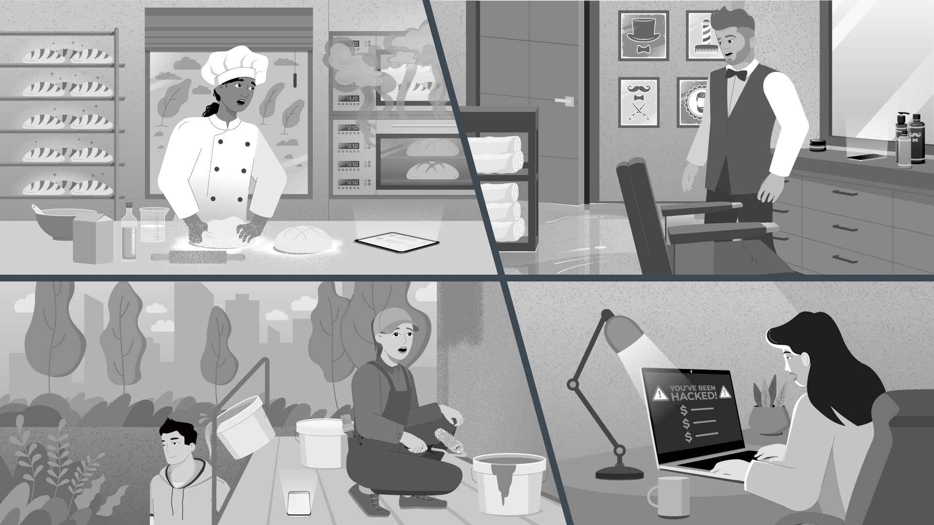 Unpleasant situations at work in Animation Video
