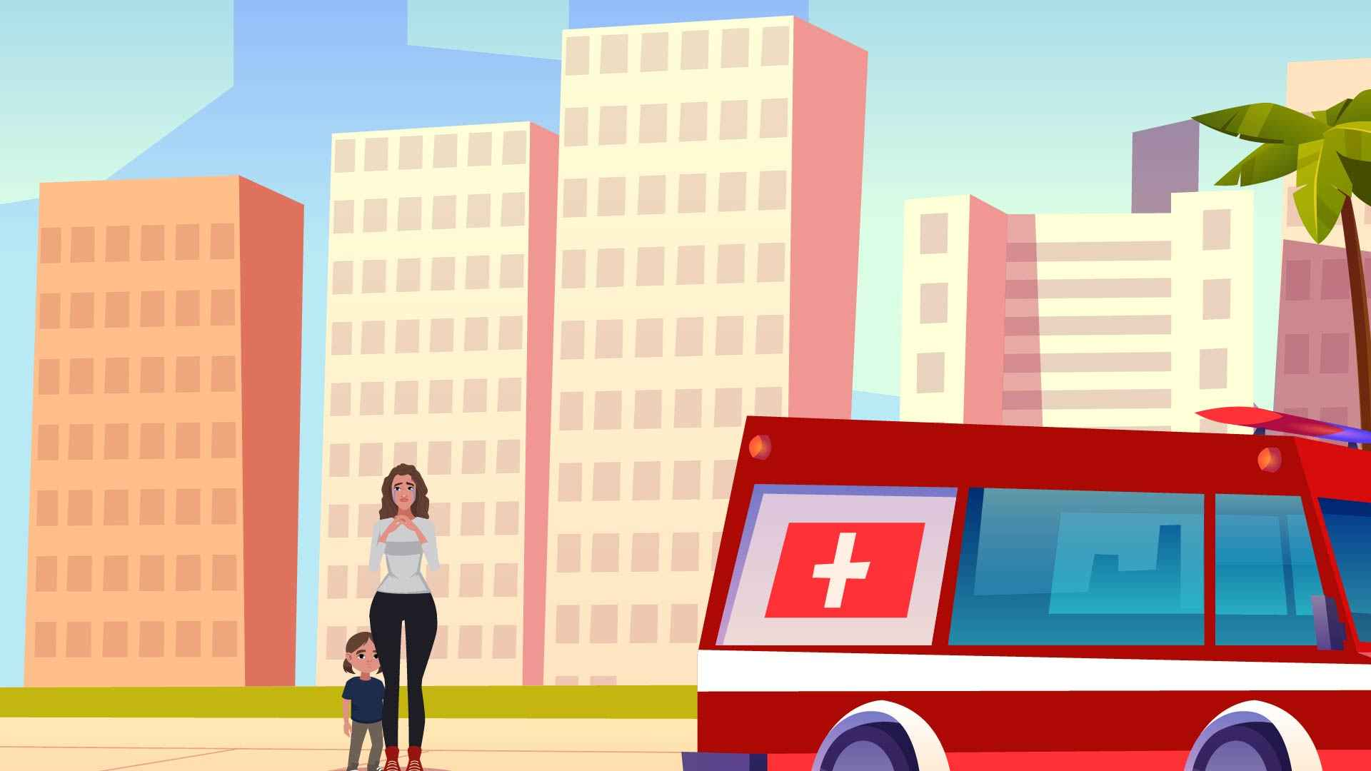 Woman with baby on the street in Animated Marketing Video