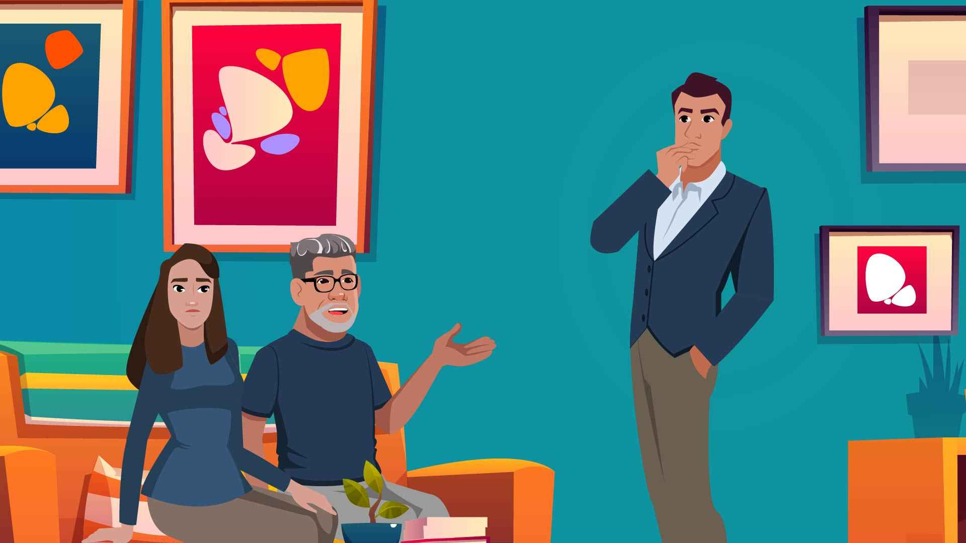 Conversation with a tax agent in the Animated Explainer Video