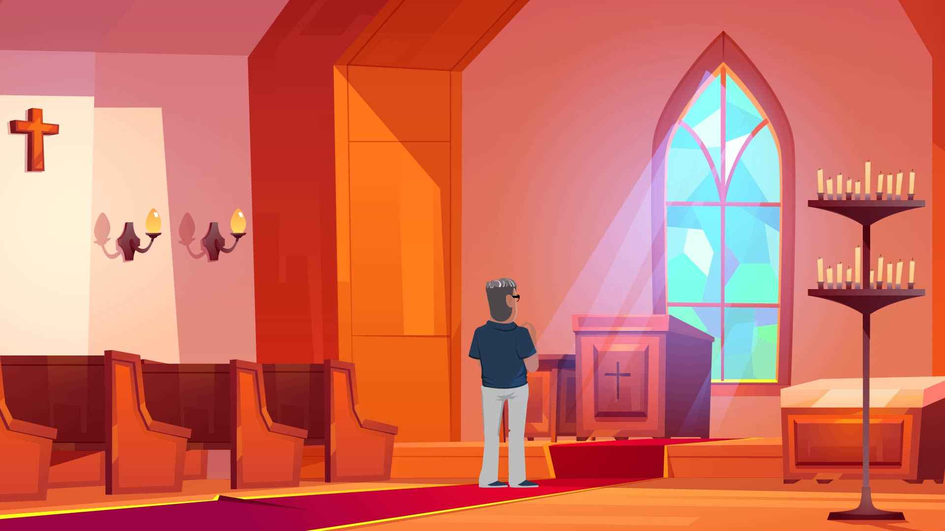 A man stands in the building - 2d graphics with character animation