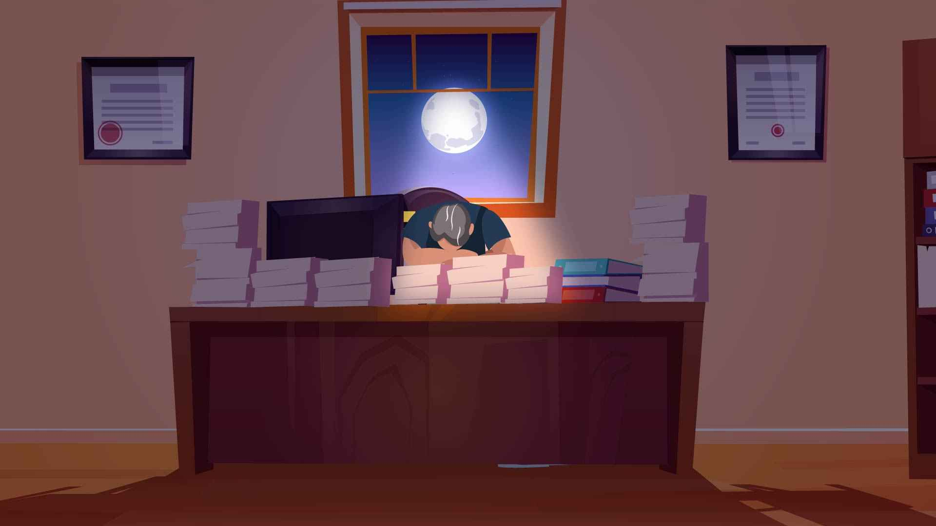The man fell asleep reading books in an Animated Explanatory Video