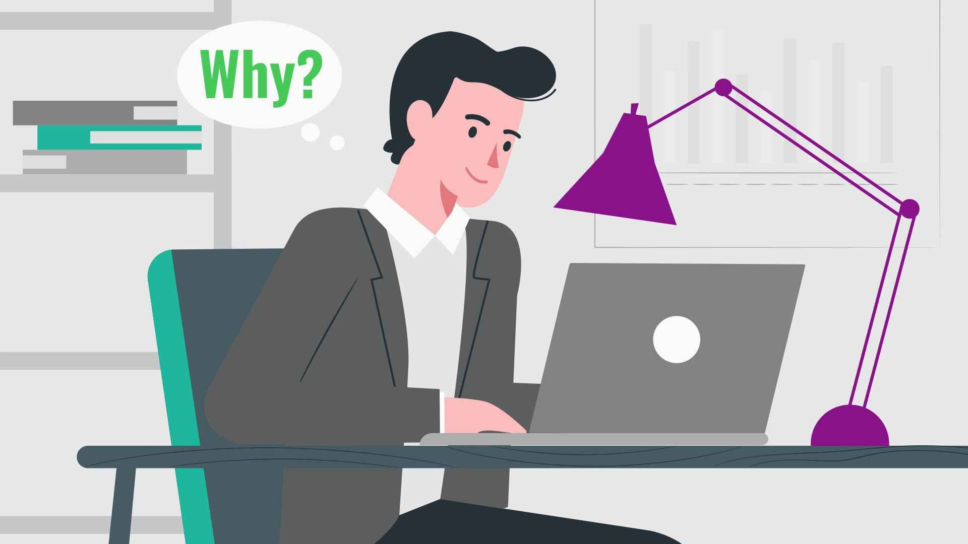 Man working at computer in Animated Video