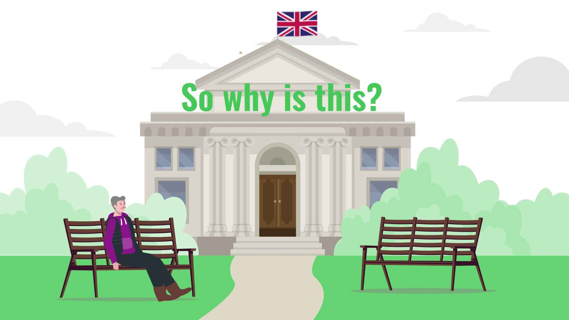 """Pensioner sits on a bench in the video """"Smart pension planning"""""""