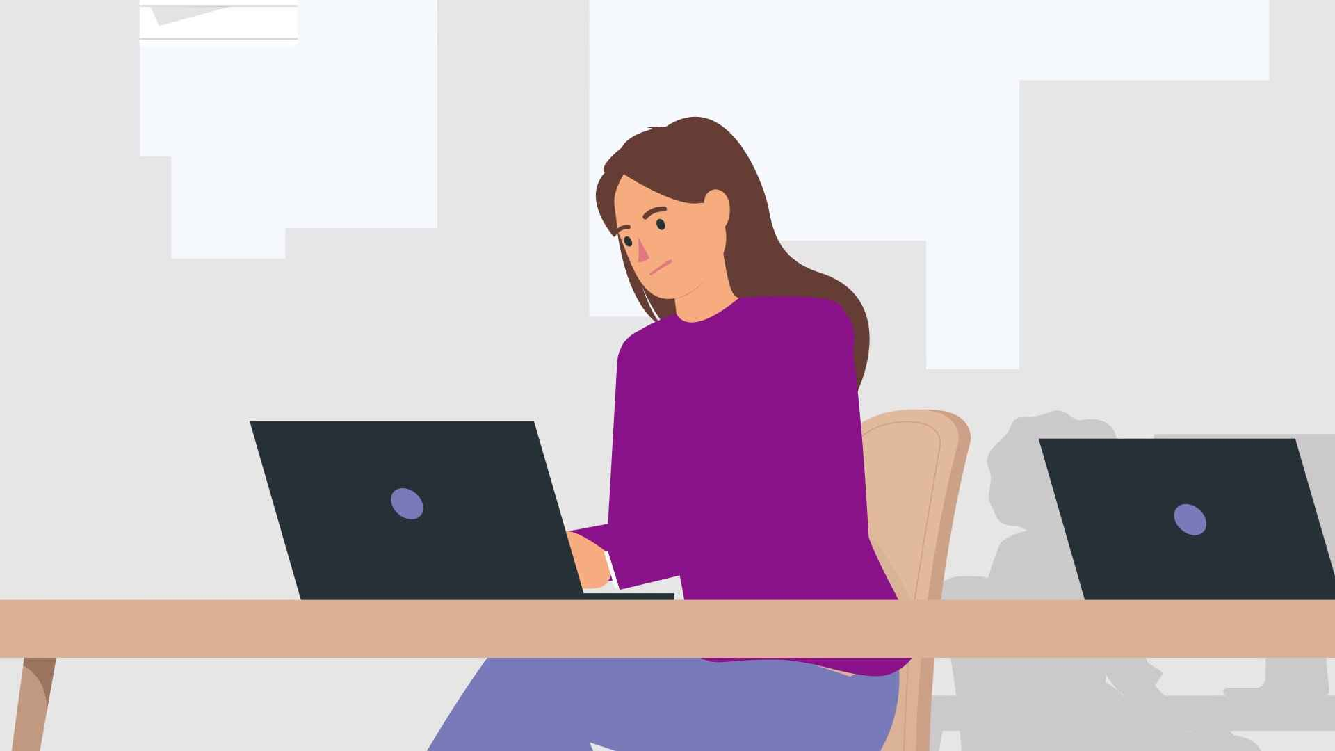Woman working on laptop in Animated Explainer Video