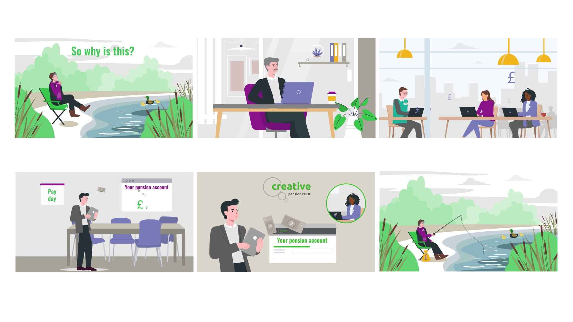 Scenes Character Animated Video with Infographics