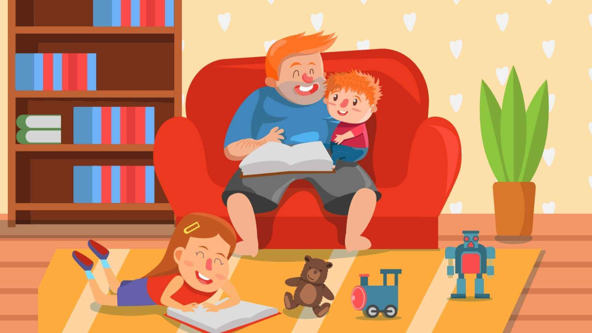 Parent spends time with children - animation